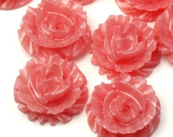 Plastic Flower Cabochons Ruffle Roses 15mm Pearl Pink (4) PC305