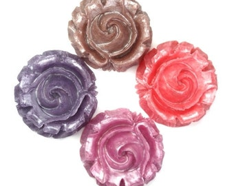 Plastic Flower Cabochons X-Large Ruffled 33mm Pearl Sampler Mix (4) PC319