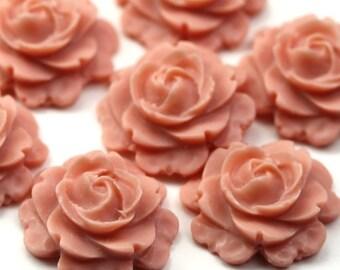 Plastic Flower Cabochons Rose 15mm Vintage Rose (4) PC321