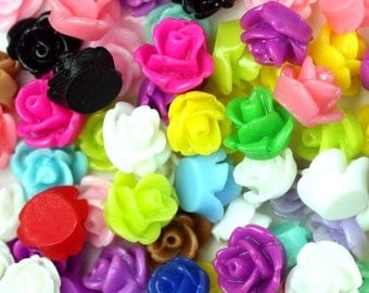 Flower Cabochons Resin Roses Multicolor Tiny Mix (50) PC324