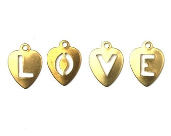 Charms Heart Letters L O V E Raw Brass Small 12x9mm (12) CP163