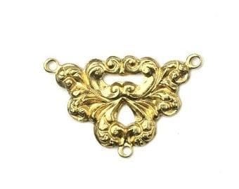 Connector Ornate Scrolls Raw Brass 3 Rings Pendant Link 29x19mm (1) CP164
