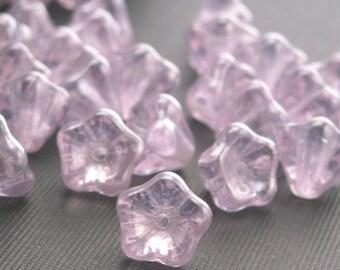 25 Czech Glass Bell Flower Beads - 8x6mm Luster - Alexandrite CZP079