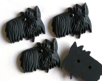 1 Vintage West German Black Scottie Dog Glass Cabochon VGC009