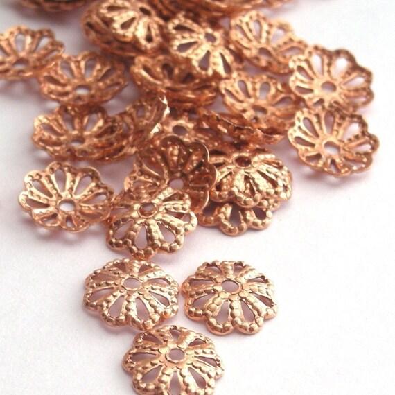 32 Genuine Copper Filigree Bead Cap Findings - 6mm - FI008