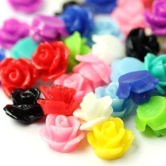 Rose Flower Cabochon Plastic 10mm Bulk Sampler Mix (24) PC177