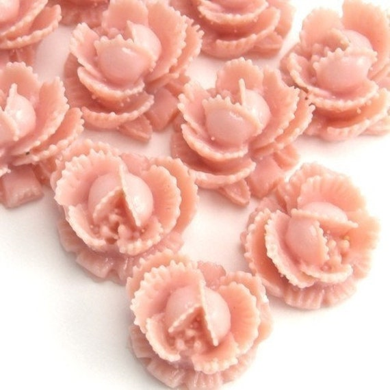 Flower Cabochons Plastic Ruffled Rose 11mm Vintage Rose (6) PC128