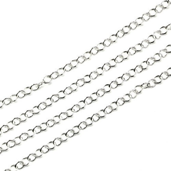 Sterling Silver Cable Chain 3x2mm Bulk By The Foot (1 Foot) CH87