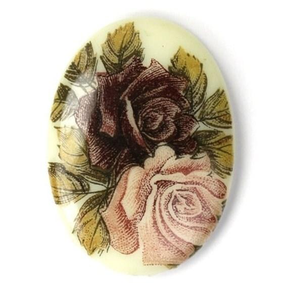 Vintage Glass Floral Cameo Cabochon Plum and Mauve 30x22 (1) VIC264