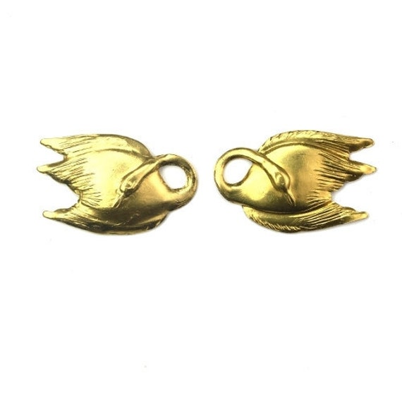 Charms Raw Brass Stamping Swan Left and Right 28x18mm (2) CP154