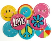 NEW- Chipboard Buttons and Embellishments (Set of 8) Groovy