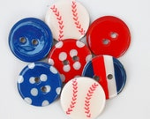 NEW-Chipboard Buttons and Embellishments (Set of 7) Baseball