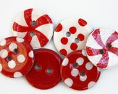 NEW- Chipboard Buttons (Set of 6) Candy Christmas