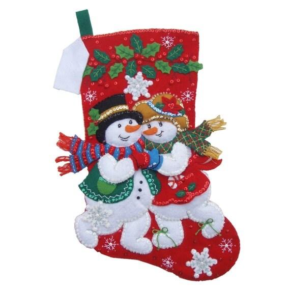 Snowflake Snuggle - Finished Handcrafted Bucilla Felt Christmas Stocking
