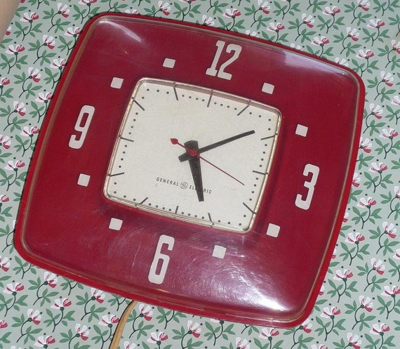 General Electric Kitchen Electric  Wall Clock - RED and WHITE circa 1950s