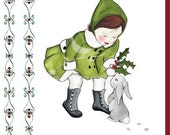Finding Winter Bunny (Personalized Card)