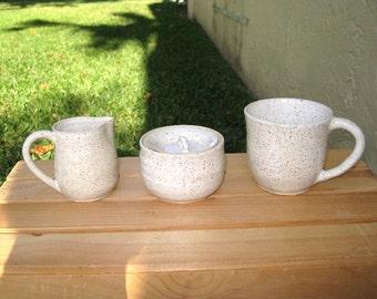 Tea or Coffee Set for 1 - mug/cup, sugar bowl, creamer - White Stoneware - handmade wheel thrown pottery - Free Shipping