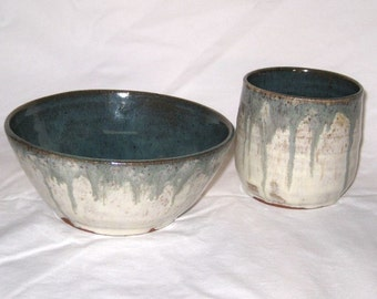 Cereal Bowl and Juice Cup Set 'Antique Jade' and Cream / Stoneware - Free Shipping