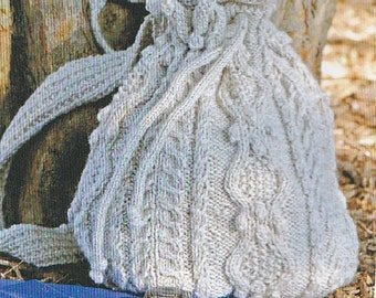 Aran Backpack or Purse-Knitting Pattern