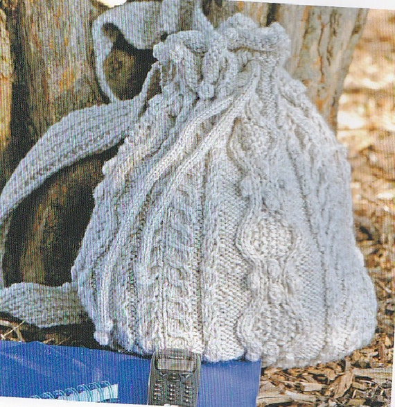 Backpack Knitting Pattern : Aran Backpack or Purse-Knitting Pattern