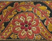 BENGAL Jacquard trim in rust, mustard, gold, on black. 2 inches wide. 729-A