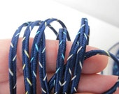 12 yards (11 meters)  STICHED SOUTACHE passementerie braid. Multi aqua and buttercream on navy blue. 1/8 inch (3mm) wide. 0369-06