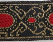 3 yards IBERIAN MIRRORS Jacquard trim. Red, gold on black. 1 inch wide. 284-A