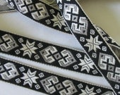 3 yards vintage GEOMETRICS Jacquard trim in grey, ivory, on black. Ivory edges. 3/4 inch wide. V08-A