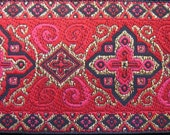 3  yards LITURGY Jacquard trim. Gold, red, cerise, black, on red. 1 1/2 inch wide. 704-D