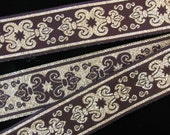 3 yards SENECHAL, REVERSIBLE Jacquard trim in gold and very dark midnight brown. 1 1/8 inch wide. 583-D