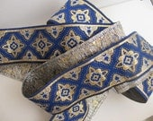 3 yards COSACK Jacquard trim in silver, gold, on blue. 1 3/4 inch wide. 292-C