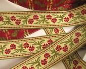 3 yards DOUBLE BLOSSOMS fabric Jacquard trim. Wine red, moss green on creamy ecru. Bavarian dress trim. 7/8 inch wide. 903(B)-A