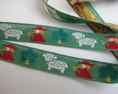 2 yards VINTAGE PASTORAL Shepherd and sheep Jacquard trim, red,white,yellow on green. 5/8 inch wide. All cotton 665-B