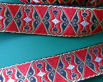 2 yards CHAMBER MUSIC jacquard trim in red, antique gold on black. 1 inch wide. 129-A