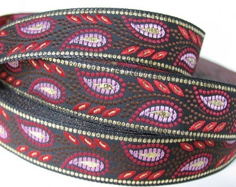 3 yards GOLD WHEAT Jacquard trim in red, lavender, brown, gold on black. 3/4 inch wide. 492-A