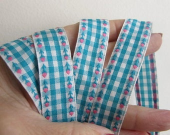 3 yards ROSEBUDS on GINGHAM Jacquard trim. Pink on turquoise and white. White edges.  3/4 inch wide. 875-C
