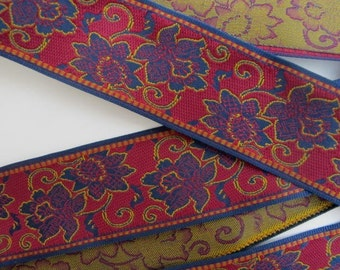 3 yards CHRYSANTHEMUM Jacquard trim. Wine red, mustard, dark red, navy blue. 1 1/8 inch wide. 871(A)-A