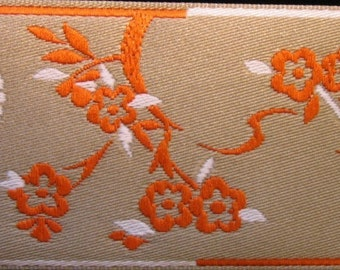 3  yards CHINESE BLOSSOMS, Jacquard trim, orange, ivory, on beige. 1 1/2 inch wide.  696-A
