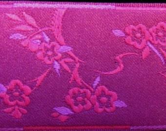 3  yards CHINESE BLOSSOMS, Jacquard trim, cerise, purple, on purple, 1 1/2 inch wide. 696-B