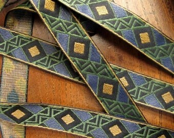 3 yards WARLORD Jacquard trim in mustard, slate blue, olive green, on black. 3/4 inch wide.851-B