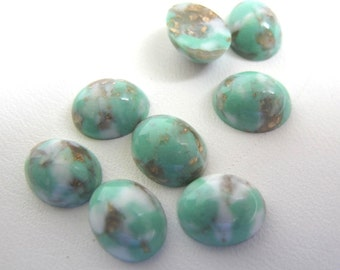 8 Teeny Vintage Lucite Cabs 8 x 9.5 mm Gold and White flecks in Light Green/Aqua
