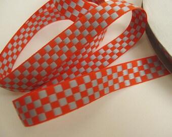 3 yards CHECKERBOARD Reversible Jacquard ribbon, light grey on orange.  5/8 inch wide. 900-B
