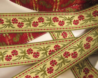 3 yards DOUBLE BLOSSOMS fabric Jacquard trim. Wine red, moss green on creamy ecru. Bavarian dress trim. 7/8 inch wide. 903(B)-A