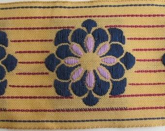 ZINNIA on PINSTRIPES embroidered fabric Jacquard trim in Navy ,lavender, wine red, on deep ecru. High end selection.. 2 inches wide. 911-A