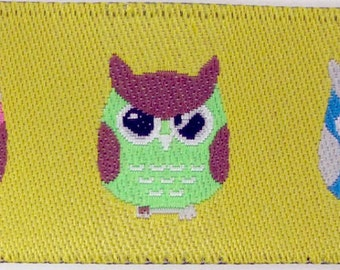 3 yards ANGRY OWLS fabric Jacquard trim. Pink, green, blue, brown on citrus yellow. 7/8 inch wide. 937-A