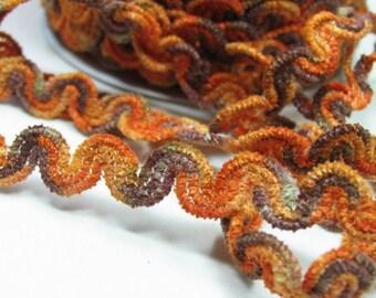 Chenille FUNKY WAVE  BRAID. 3 yards. Orange, brown, copper, beige, golden. 5/8 inch wide. 494-a