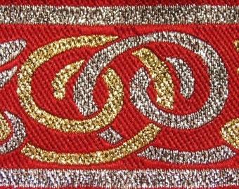 3 yards CELTIC DOG Jacquard trim in silver, gold on red. 1 1/4 inch wide.  701-C