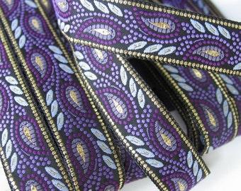 3 yards GOLD WHEAT Jacquard trim in deep purple, purple, mauve, gold on black. 3/4 inch wide. 492-C