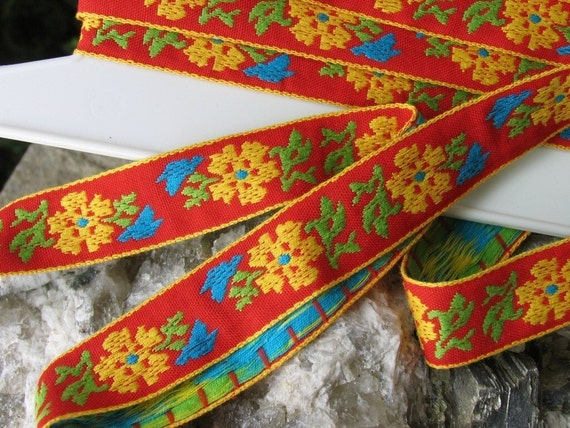 3  yards FLORALY Jacquard trim. Yellow, emerald green, turquoise, on red. Yellow edges. 1 inch wide. 660-A