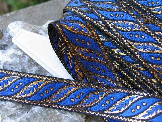 3 yards SLANTED LEAVES Jacquard trim in royal blue, gold on black. 1 inch wide. 187-K